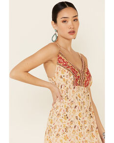 Angie Women's Ivory Floral Border Print Maxi Dress, Ivory, hi-res