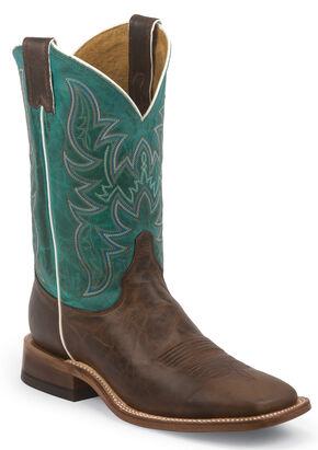 Justin Bent Rail Wood Brown Cowboy Boots - Square Toe, Brown, hi-res