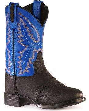 Old West Boys' Saddle Vamp Western Boots, Black, hi-res
