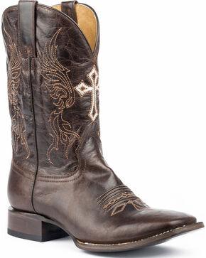 Roper Men's Scriptures Embroidered Cross Cowboy Boots - Square Toe, Black, hi-res