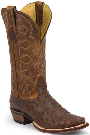 Nocona Sienna Soft Pull-Up Full Quill Ostrich Let's Rodeo Cowboy Boots - Square Toe, Sienna, hi-res