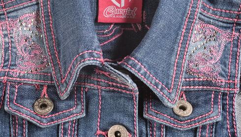 Cowgirl Hardware Girls' Pink Stitched Horse Denim Vest, Denim, hi-res
