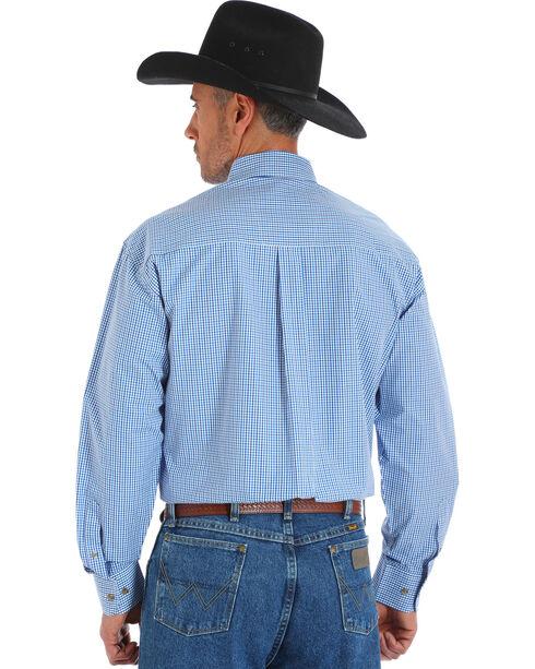 Wrangler George Strait Men's Blue Poplin Plaid Button Shirt, Blue, hi-res