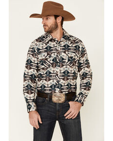 Rock & Roll Denim Men's Teal Aztec Print Snap Long Sleeve Western Shirt , Teal, hi-res