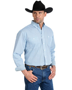 George Strait by Wrangler Men's Royal Geo Print Long Sleeve Western Shirt - Big , Royal Blue, hi-res