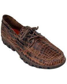 Ferrini Men's Brown Genuine Croc Print Shoes - Moc Toe, Brown, hi-res