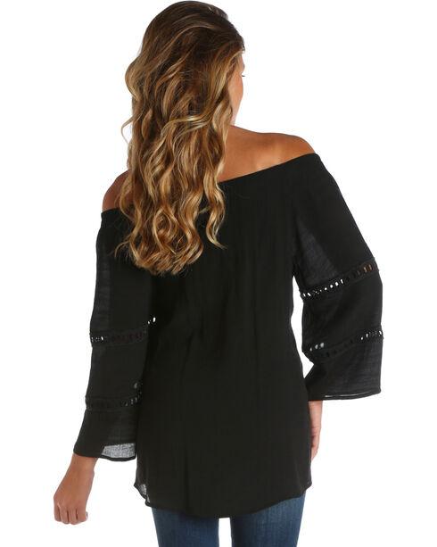 Wrangler Women's Black Off The Shoulder Lace Top , Black, hi-res