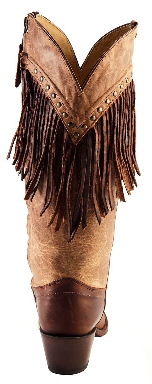 Tony Lama Vaquero with Fringe Mosto Tucson Cowgirl Boots - Snip Toe, Brown, hi-res