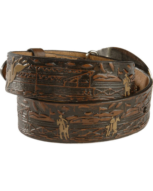 Nocona Kids' Bucking Bull Embossed Leather Belt - 18-26, Brown, hi-res