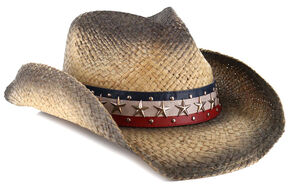 Cody James Stars and Stripes Straw Cowboy Hat, Black, hi-res