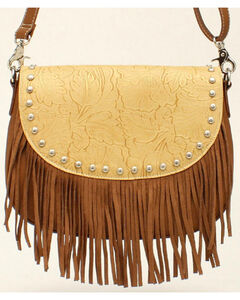 Blazin Roxx Women's Fringe Round Concho Shoulder Bag, Tan, hi-res