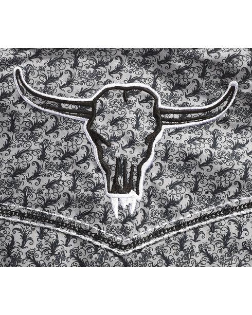 Cowboy Hardware Boys' Scroll Skull Long Sleeve Shirt , Grey, hi-res