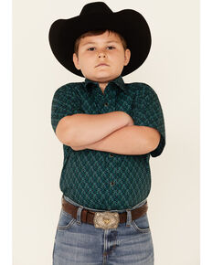 Panhandle Select Boys' Green Geo Print Short Sleeve Snap Western Shirt , Green, hi-res