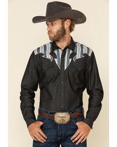 H Bar C Ranchwear Men's Navy Striped Yolk Long Sleeve Western Shirt , Navy, hi-res