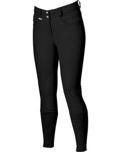 Dublin Active Slender Euro Seat Front Zip Breeches - Black, Black, hi-res