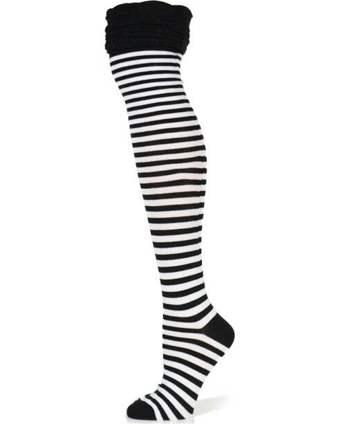 K.Bell Women's Striped Over-The-Knee Socks, Black, hi-res
