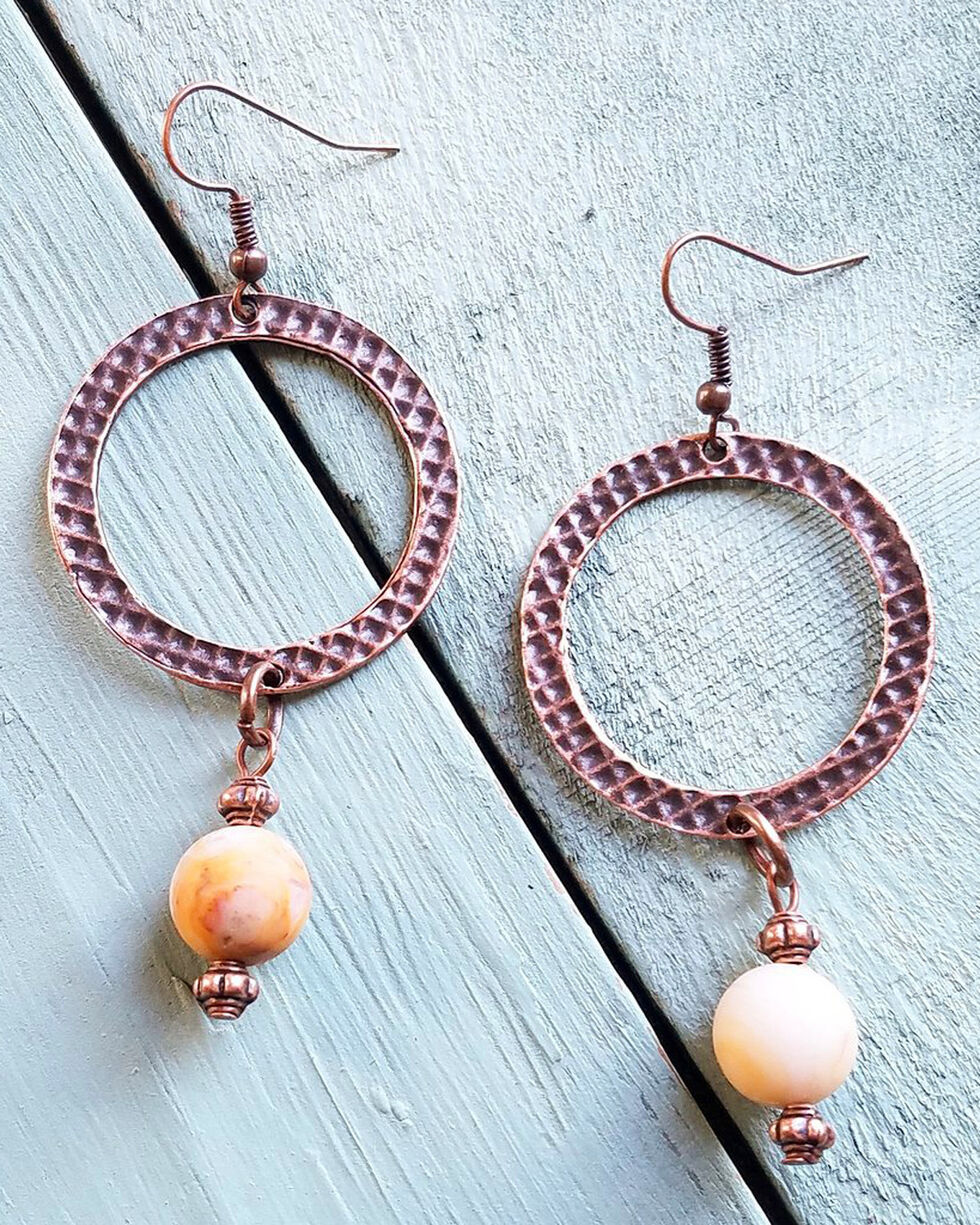 Jewelry Junkie Women's Frosted Crazy Agate Drop Earrings, Rust Copper, hi-res