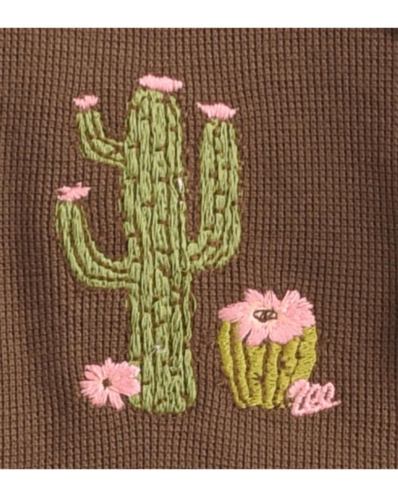Wrangler Toddler Girls' Brown Cactus Embroidered Hoodie , Brown, hi-res