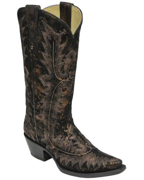 Corral Black Antique Snake Print Cowgirl Boots - Snip Toe , Black, hi-res