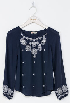 Miss Me Girls' Navy Embroidered Top , Navy, hi-res