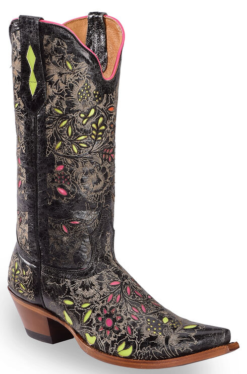 Johnny Ringo Floral Inlay Cowgirl Boots - Snip Toe, Black, hi-res