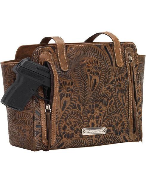 American West Women's Brown Conceal Carry Ridge Purse , Distressed Brown, hi-res