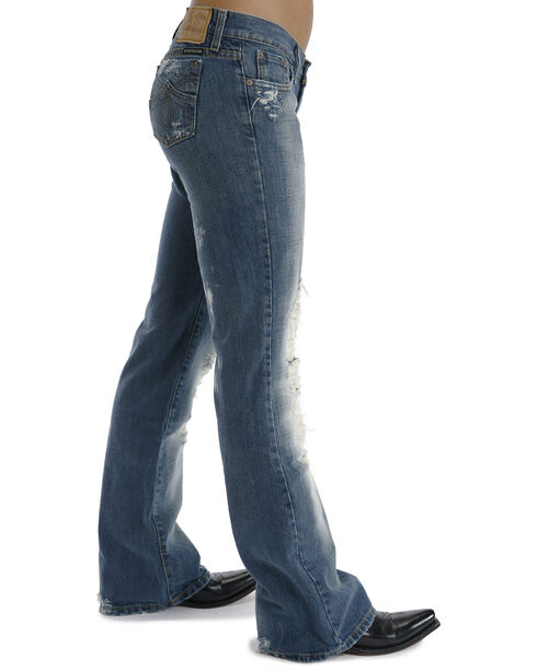 Stetson Women's 816 Fit Distresed Bootcut Jeans, Denim, hi-res