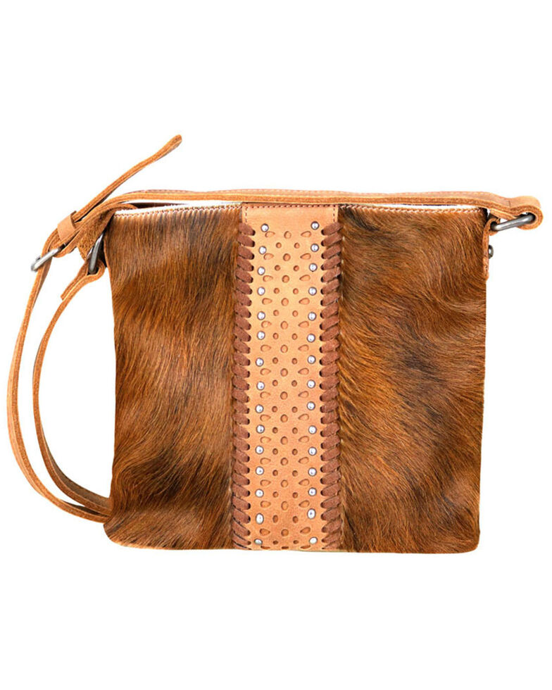 Delila by Montana West Women's Brown Leather Hair-On Crossbody, Brown, hi-res