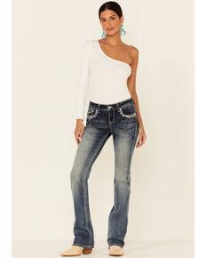 Grace in LA Women's Medium Wash Stacked Color Stitch Low Rise Bootcut Jeans, Blue, hi-res