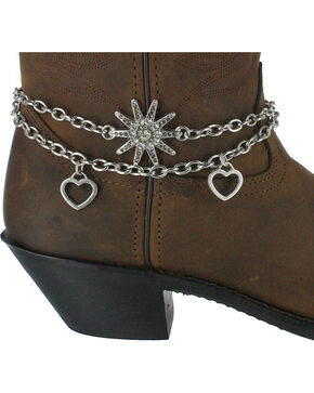 Shyanne® Women's Spur and Hearts Boot Bracelet, Silver, hi-res
