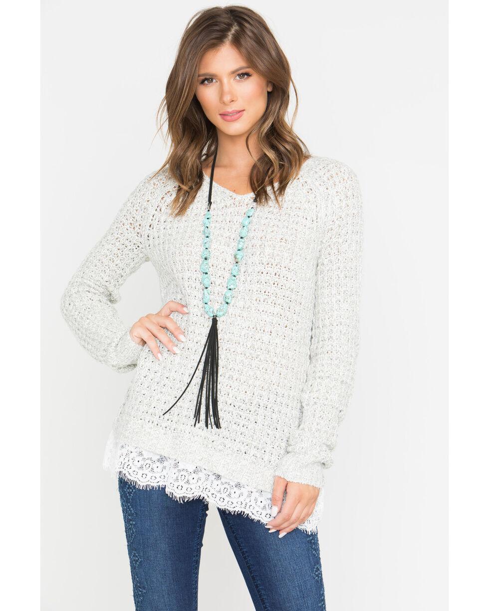 Shyanne Women's Oatmeal Lace Hem Waffle Pullover Sweater  , Oatmeal, hi-res