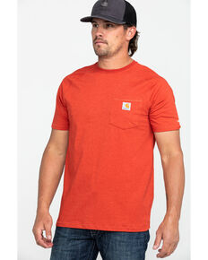 Carhartt Men's Force Cotton Delmont Short Sleeve Work T-Shirt , Heather Red, hi-res