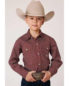 Roper Boys' Red Ridge Amarillo Star Foulard Print Long Sleeve Western Shirt , Burgundy, hi-res