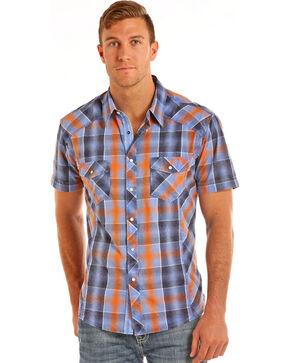 Rock & Roll Cowboy Men's Blue Crinkle Washed Plaid Shirt , Blue, hi-res