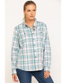 Wrangler Riggs Women's Teal Blue Plaid Long Sleeve Work Shirt  , Teal, hi-res