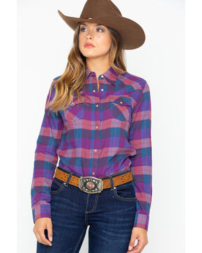 Wrangler Women's Plaid Flannel Long Sleeve Western Shirt , Purple, hi-res