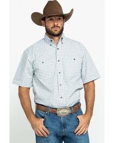 George Strait By Wrangler Men's Mint Small Plaid Short Sleeve Western Shirt - Tall , Light Green, hi-res