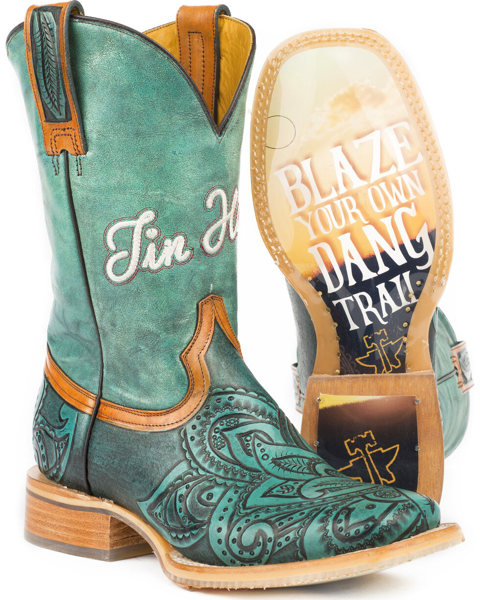 Tin Haul Women's Paisley Too Blazing Trail Cowgirl Boots - Square Toe, Blue, hi-res