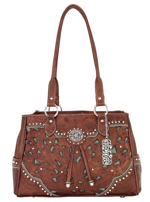 American West Lady Lace Multi-Compartment Tote, Brown, hi-res