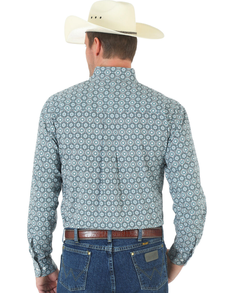 Wrangler George Strait One Pocket Black and White Print Poplin Shirt, , hi-res