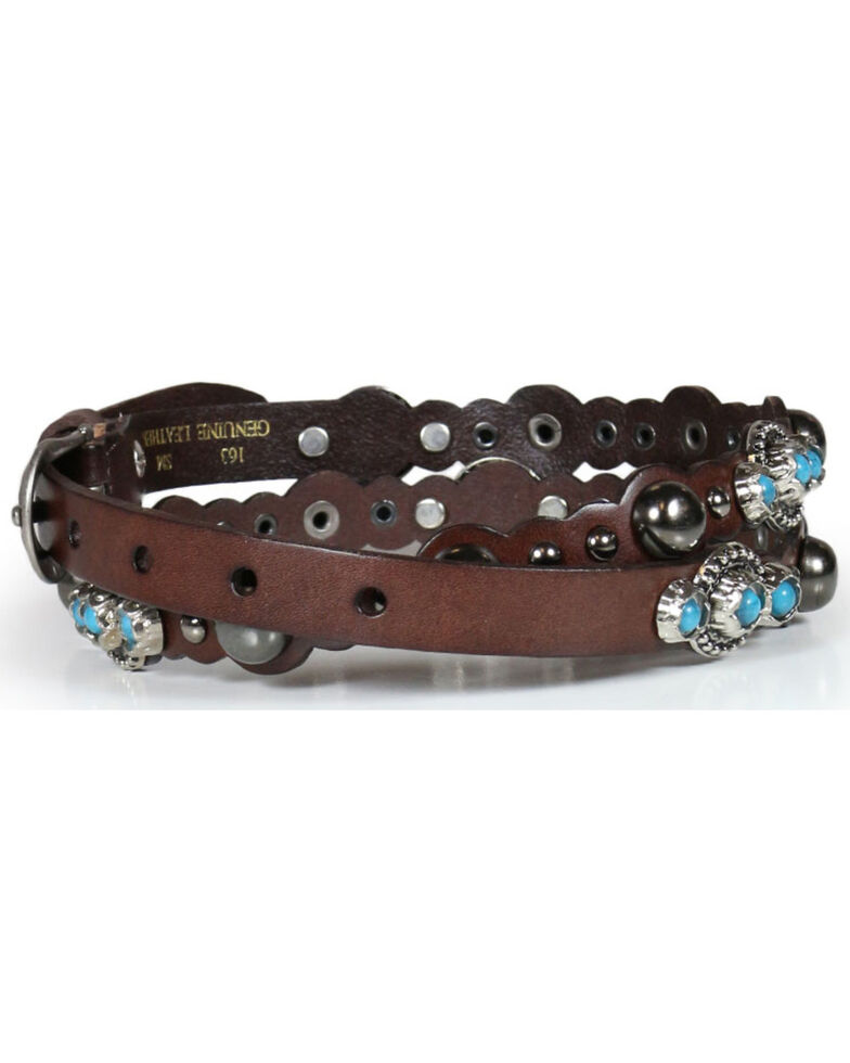 Shyanne Women's Turquoise Studded Belt, Multi, hi-res