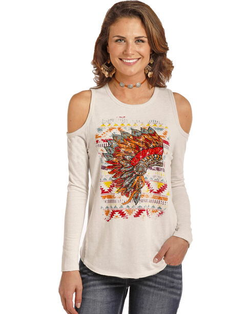Rock & Roll Cowgirl Headdress Graphic Cold Shoulder Top, Cream, hi-res