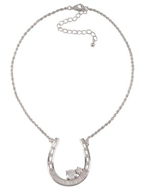 Montana Silversmiths Horseshoe Baguette Necklace, Silver, hi-res