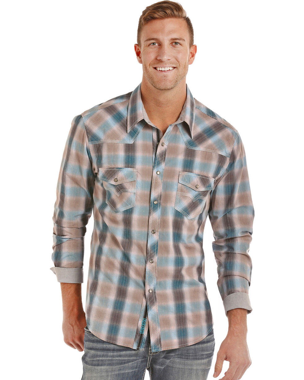 Rock & Roll Cowboy Men's Tan Crinkle Washed Plaid Long Sleeve Shirt, Tan, hi-res