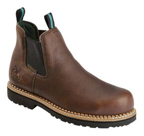 Georgia Boot Romeo Waterproof Slip-On Work Shoes - Steel Toe, Brown, hi-res
