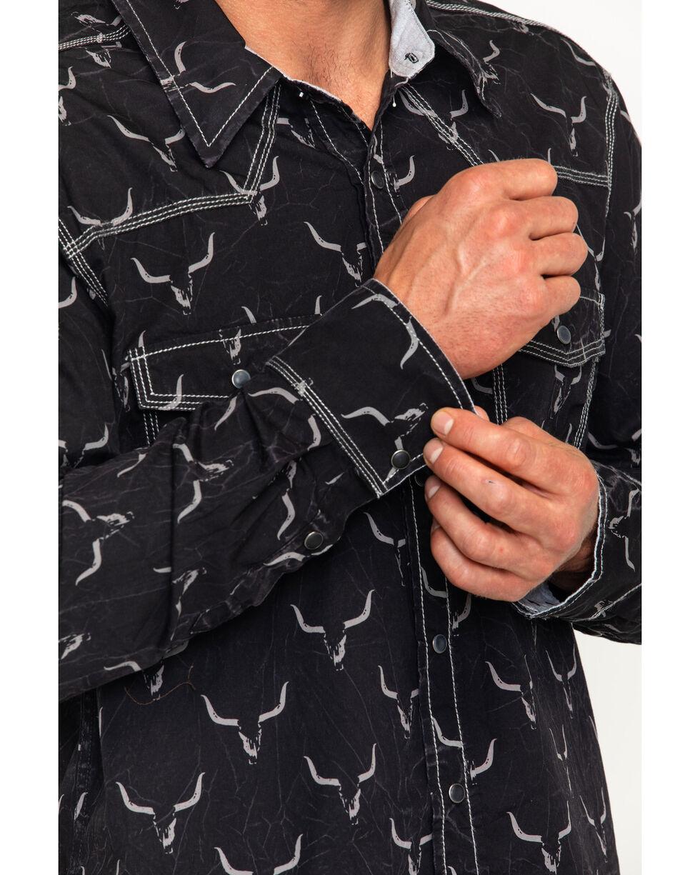 Rock & Roll Cowboy Men's Steer Print Shirt , Black, hi-res