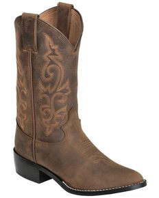 Justin Boys' Basic Western Boots - Medium Toe, Bay Apache, hi-res