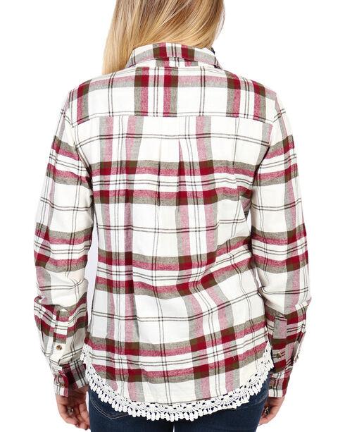 Shyanne Women's Plaid Lace Hem Cotton Flannel Shirt, Ivory, hi-res