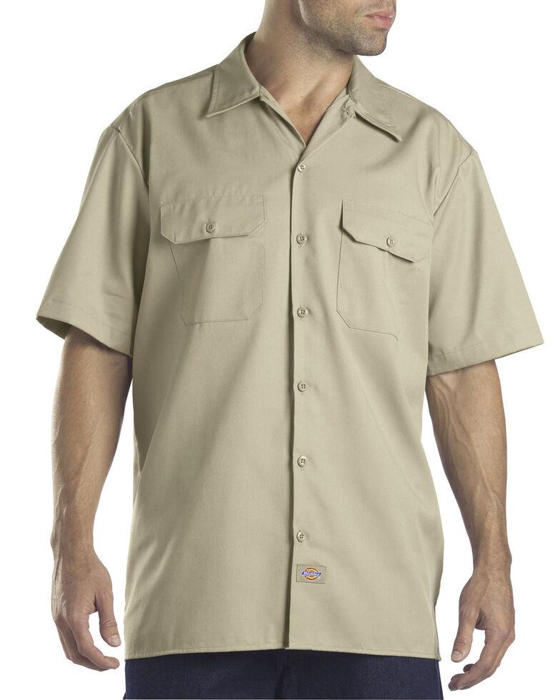 Dickies Short Sleeve Twill Work Shirt - Big & Tall-Folded, Desert, hi-res