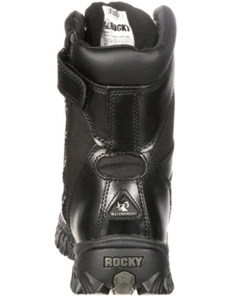 "Rocky 8"" AlphaForce Zipper Waterproof Duty Boots, Black, hi-res"